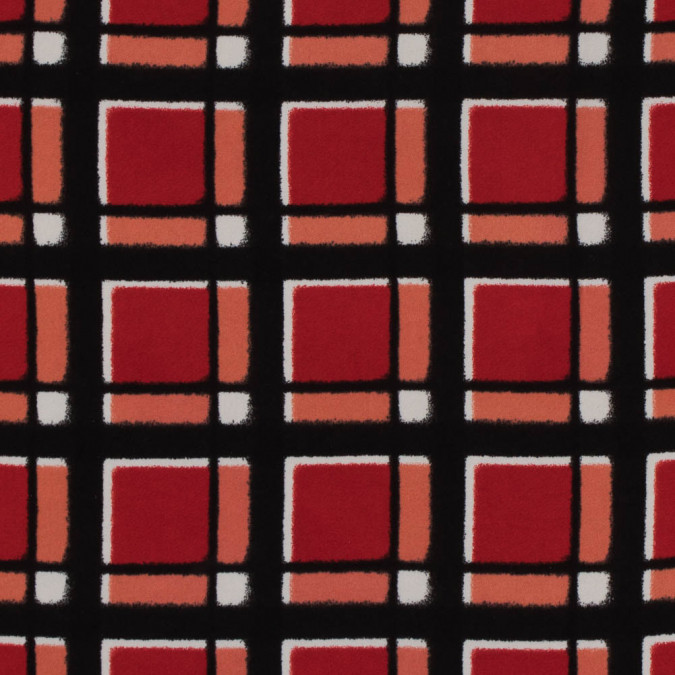 famous nyc designer mars red and black checkered polyester crepe 310652 11