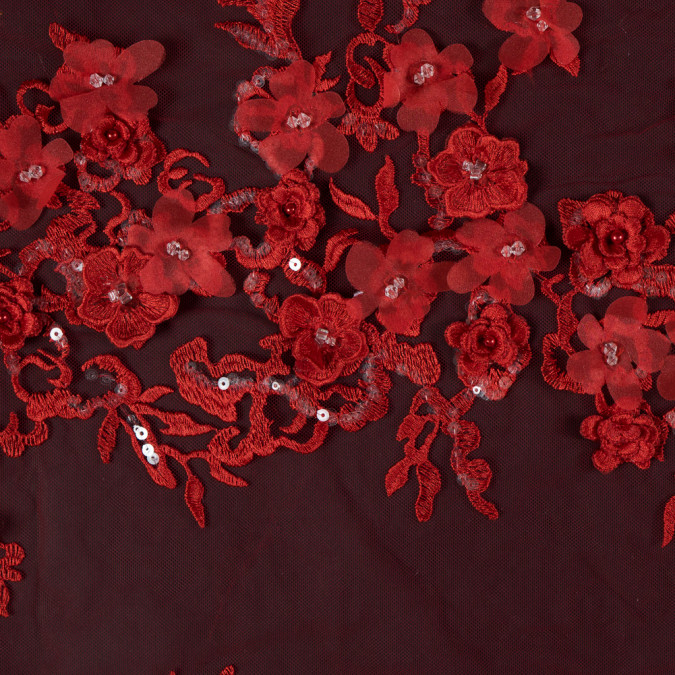 flame scarlet 3d floral embroidered tulle with beads and sequins 117636 11
