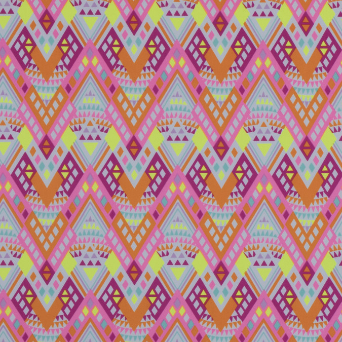 fluorescent pink and yellow tribal printed nylon spandex 313490 11