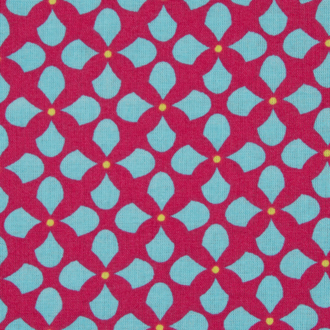 fuchsia blue geometric printed cotton voile 114133 11