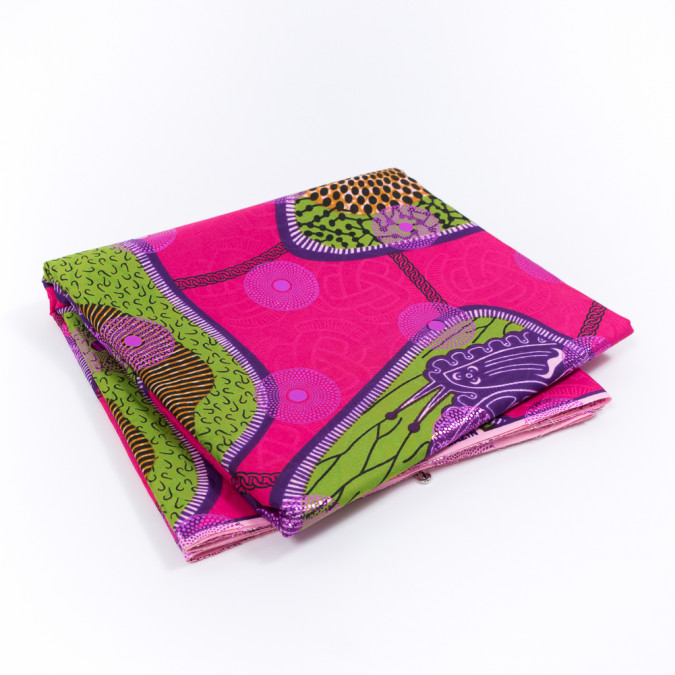 fuchsia waxed cotton african print with inlaid print and metallic purple foil 317783 11