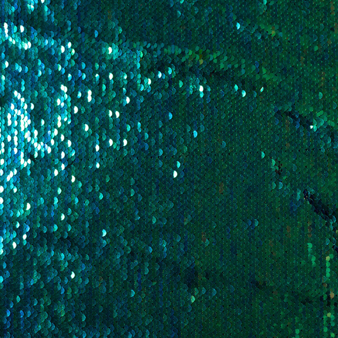 green and blue iridescent two toned paillette sequins on a stretch backing 108009 11