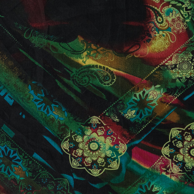 green and red paisley printed silk organza 315943 11