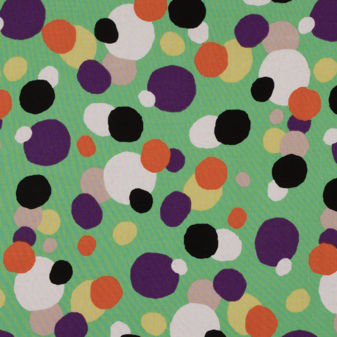 green multicolored circles printed on a cotton voile 114131 11