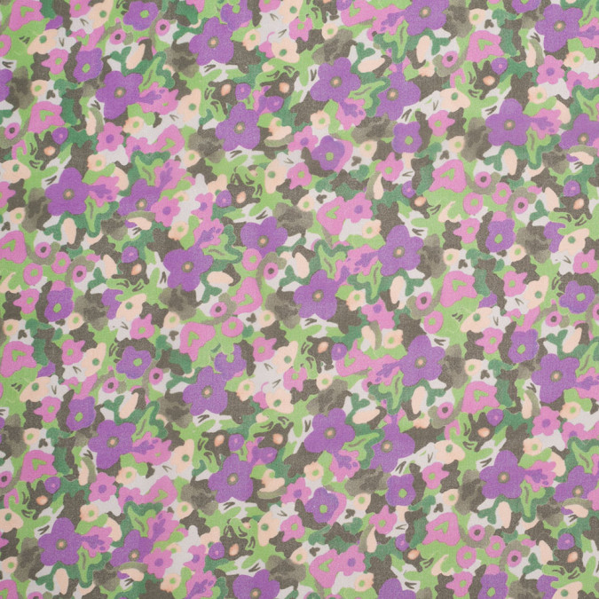 green purple cartooned floral digitally printed polyester chiffon 307392 11
