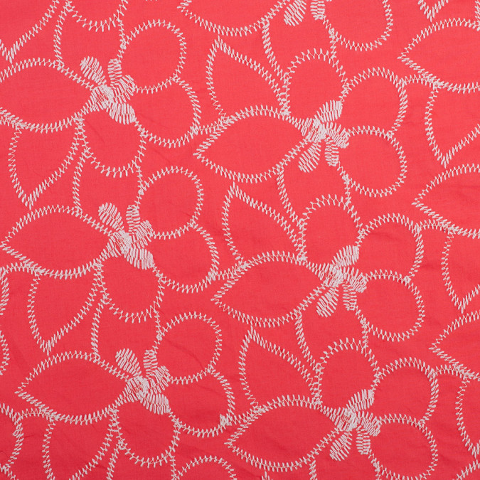 hot coral white floral embroidered cotton 308576 11