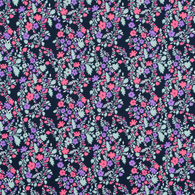 hot pink pale aqua and black iris floral printed cotton voile 117277 11