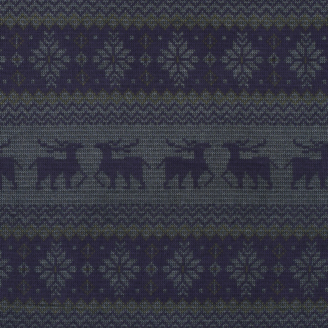 imperial purple reindeer and snowflake knit printed polyester chiffon 313495 11