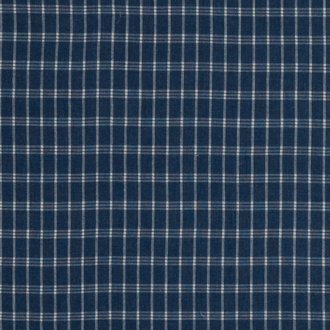 insignia blue and white plaid brushed japanese cotton shirting 318906 11