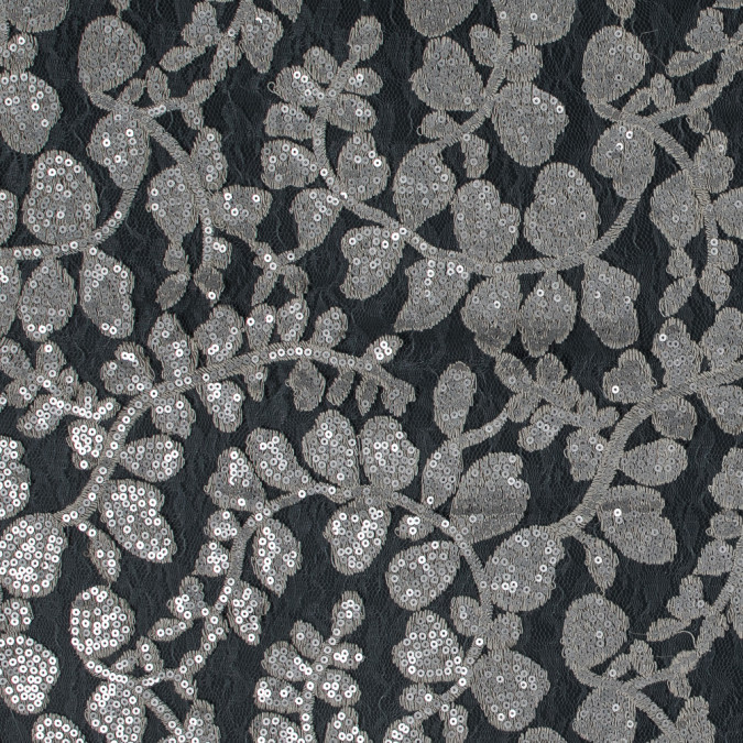 italian beige leafy sequined lace 316312 11