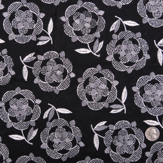 italian black pale gray floral wool flannel fw11216 11