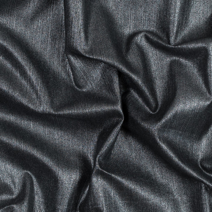 italian black stretch denim with metallic silver laminate 316317 11