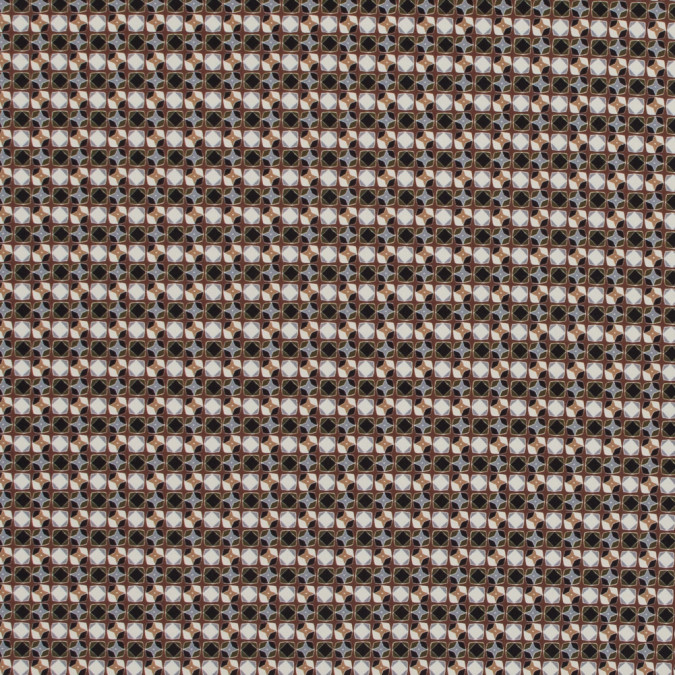 italian brown geometric digitally printed stretch polyester 317458 11