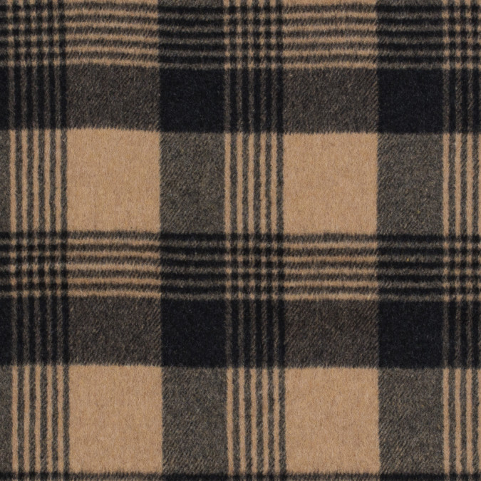 italian camel and black plaid brushed wool twill 314985 11