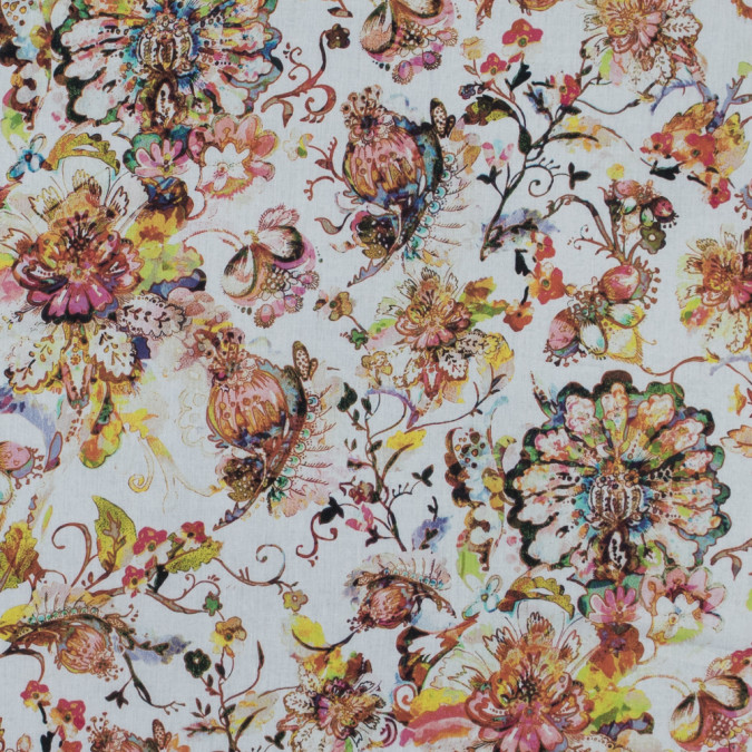 italian orange floral cotton voile 316259 11