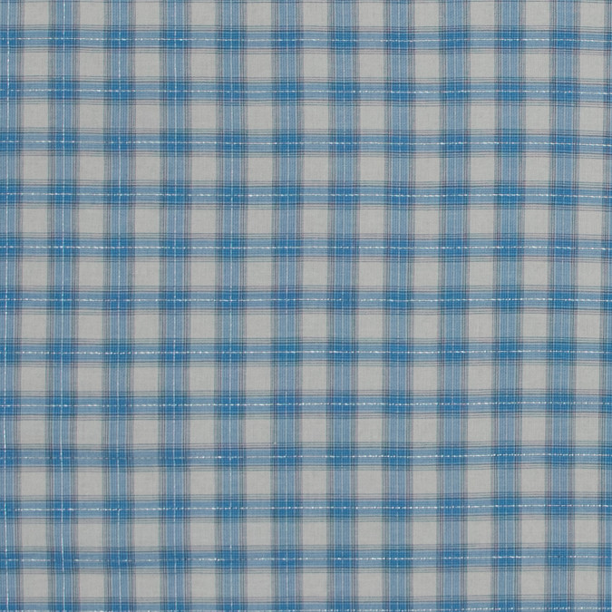 italian river blue metallic tartan plaid cotton voile 316344 11