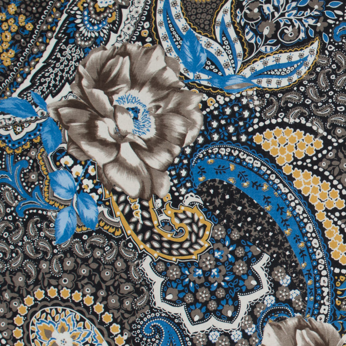 italian taupe and blue paisley cotton batiste 317313 11