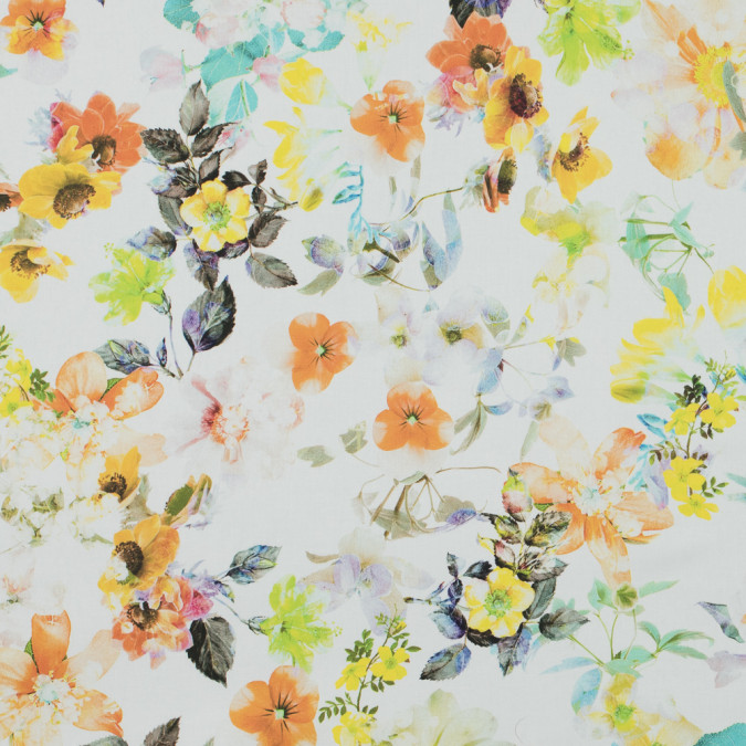 italian yellow and orange floral printed stretch cotton twill 316207 11
