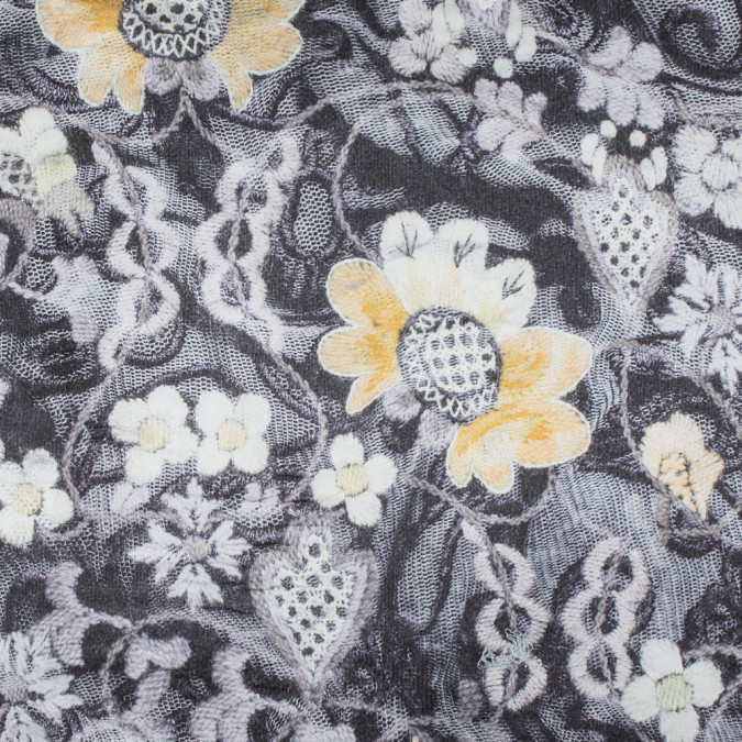 italian yellow floral digitally printed polyester charmeuse 316361 11
