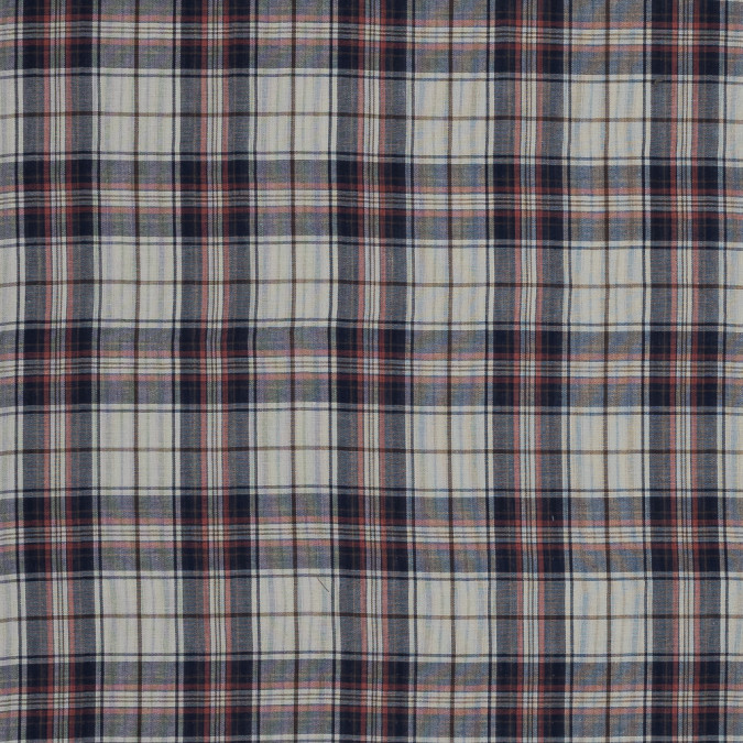 ivory red and blue plaid and striped cotton double cloth 318959 11