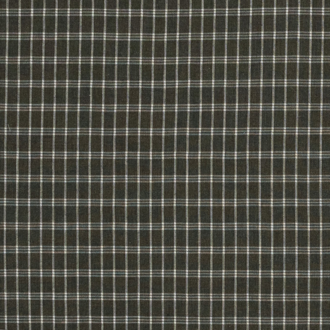 ivy green and white plaid brushed japanese cotton shirting 318903 11