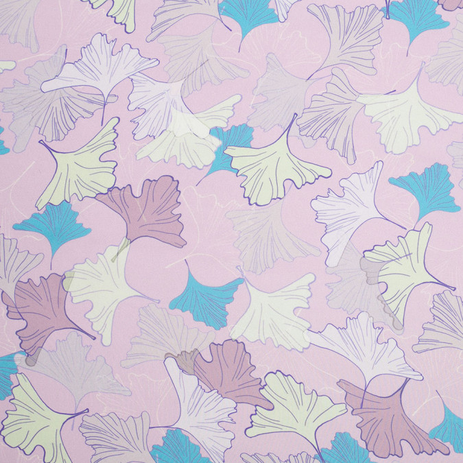 light lilac leafy digitally printed polyester charmeuse 307423 11