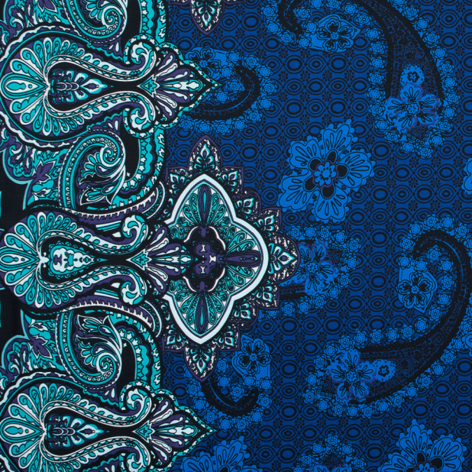 mazarine blue tropical green and patrician purple paisley border printed stretch sateen 314750 11
