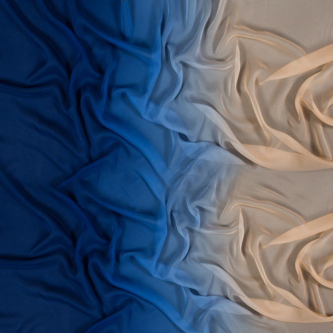 mazarine blue and peach ombre silk chiffon 318586 11