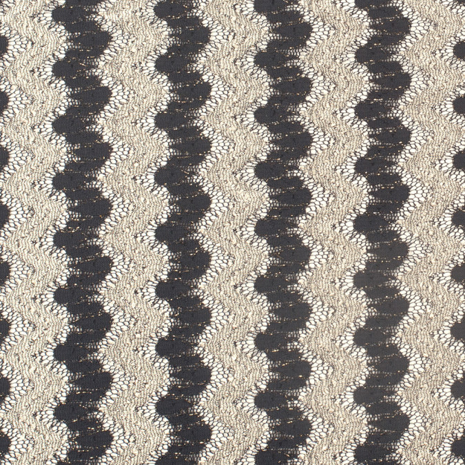 metallic black cream zig zag stretch polyester lacey knit 307775 11