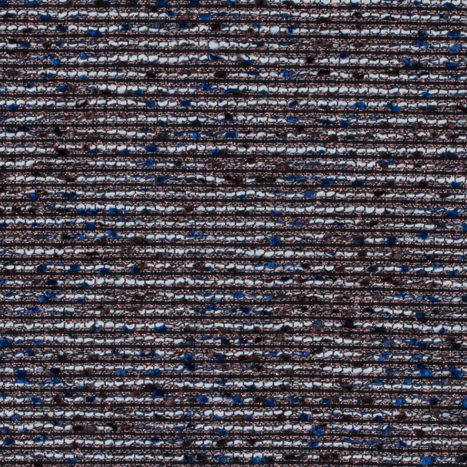 metallic copper and mazarine blue polyester tweed 312996 11