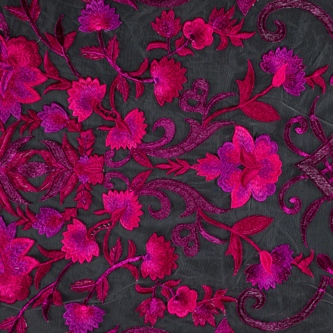 metallic fuchsia floral embroidered tulle panel 113251 11