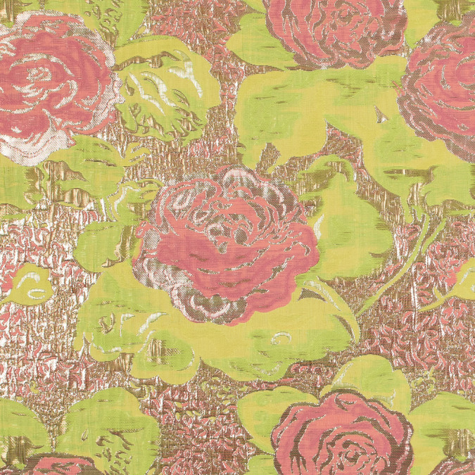 metallic gold neon yellow and pink rose jacquard 318159 11