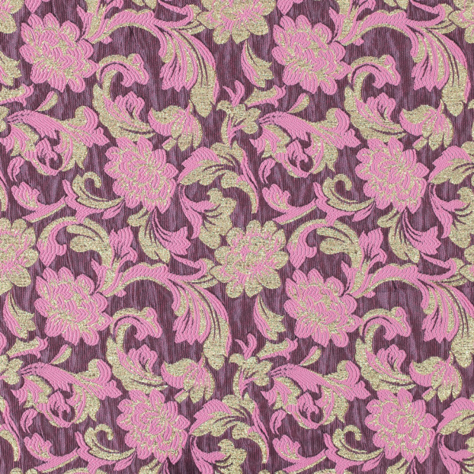 metallic gold and begonia pink floral brocade 315309 11