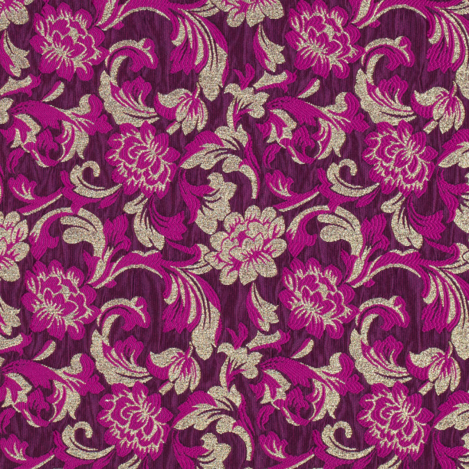metallic gold and festival fuchsia floral brocade 315310 11