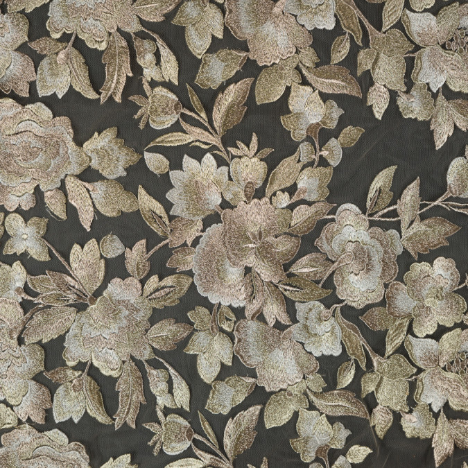 metallic gold floral embroidered tulle 114218 11