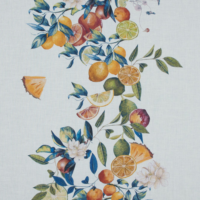 mood exclusive panier de fruits blue and orange printed cotton voile md0016 11