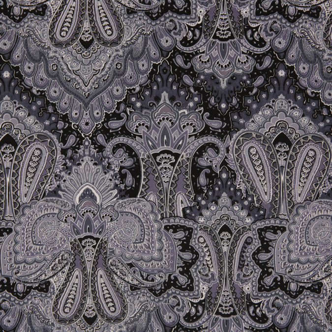 multi gray paisley printed corded cotton sateen 307137 11