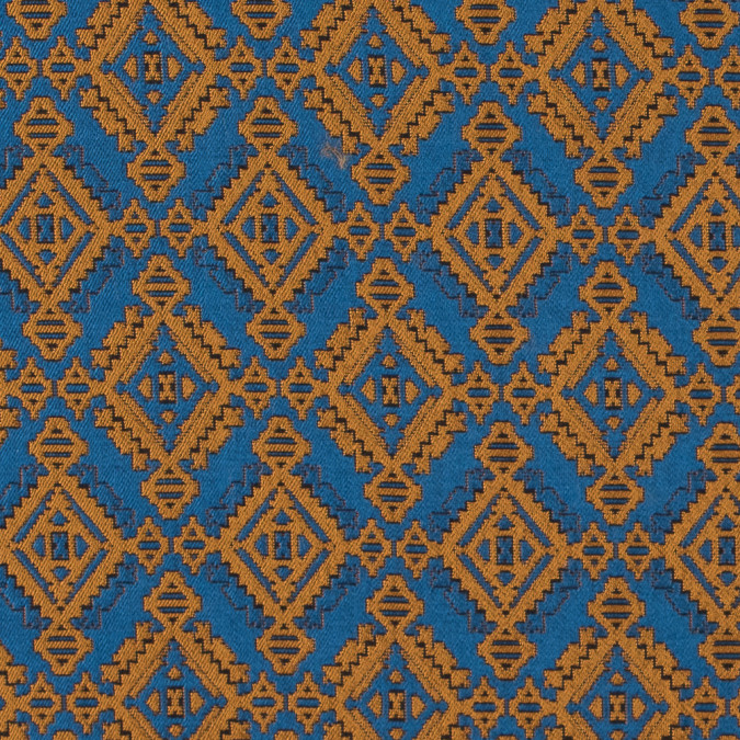 mustard and air force blue geometric brocade 311107 11