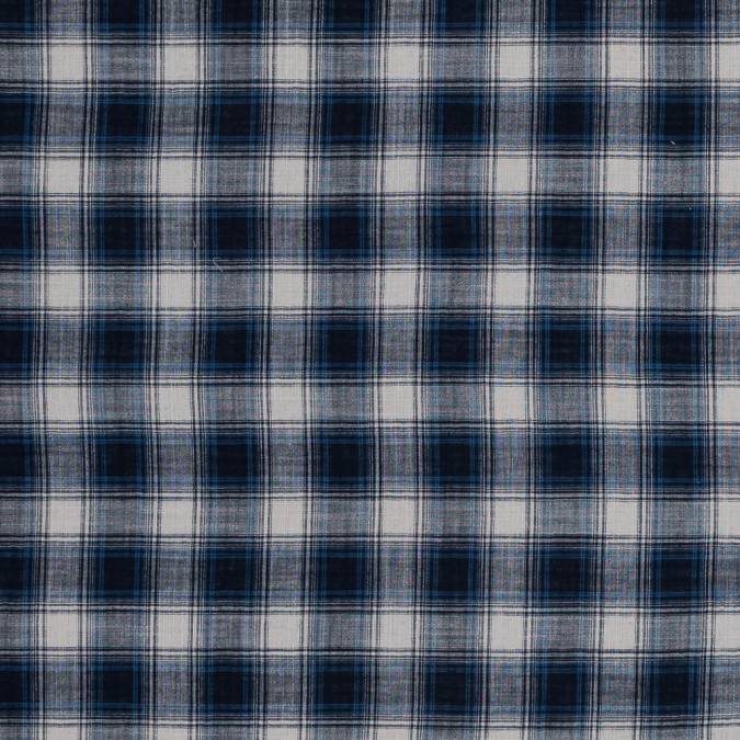navy and beige plaid japanese cotton voile 318887 11