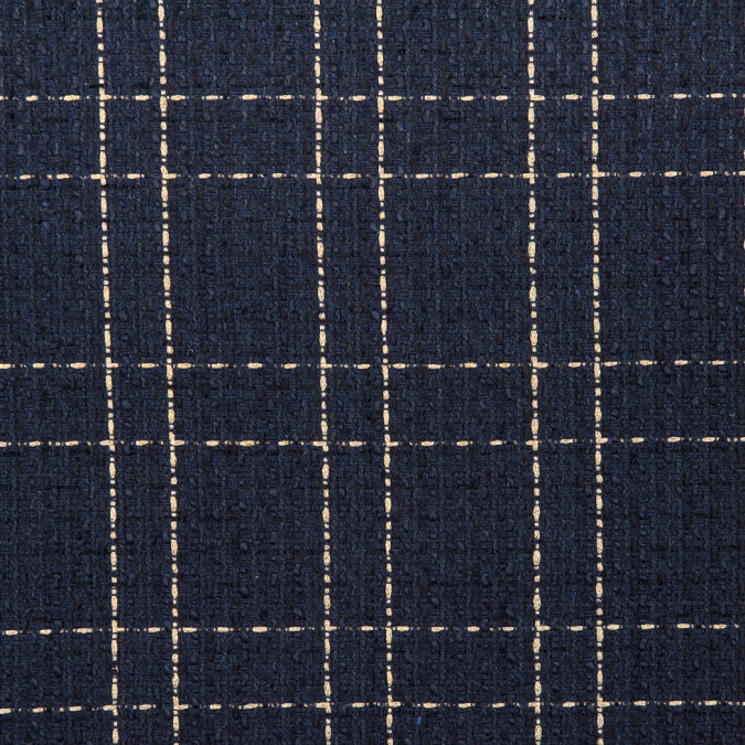 navy and pale metallic gold plaid polyester tweed 310964 11