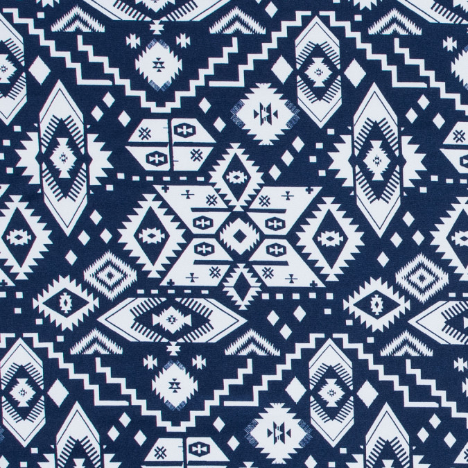 navy and white tribal printed polyester jersey 317272 11