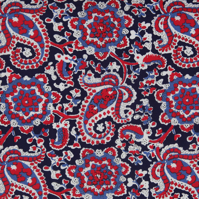 navy red paisley printed stretch cotton poplin 307105 11