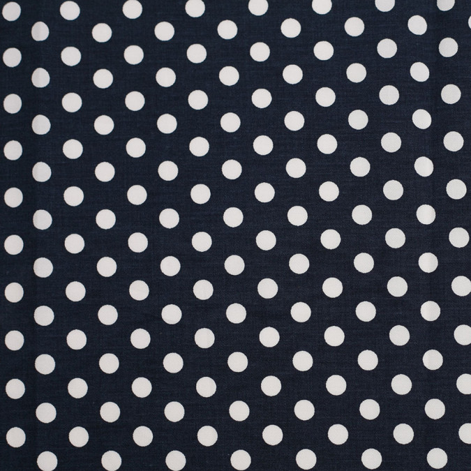 navy white polka dotted stretch cotton twill 306392 11