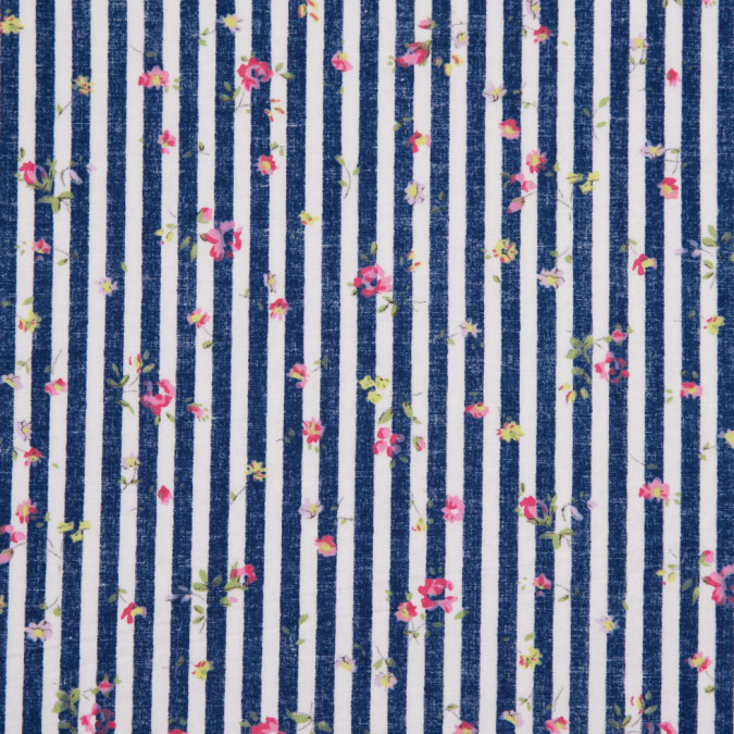 navy white striped floral dense combed cotton poplin 113820 11