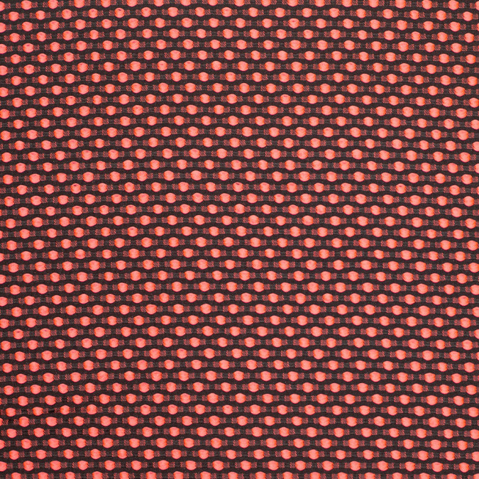 neon pink on black polka dotted polyester jacquard 305663 11