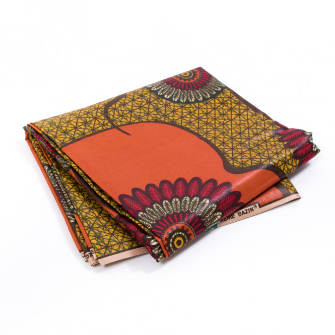 orange and mustard geometric waxed cotton african print with additional inlaid print 317773 11