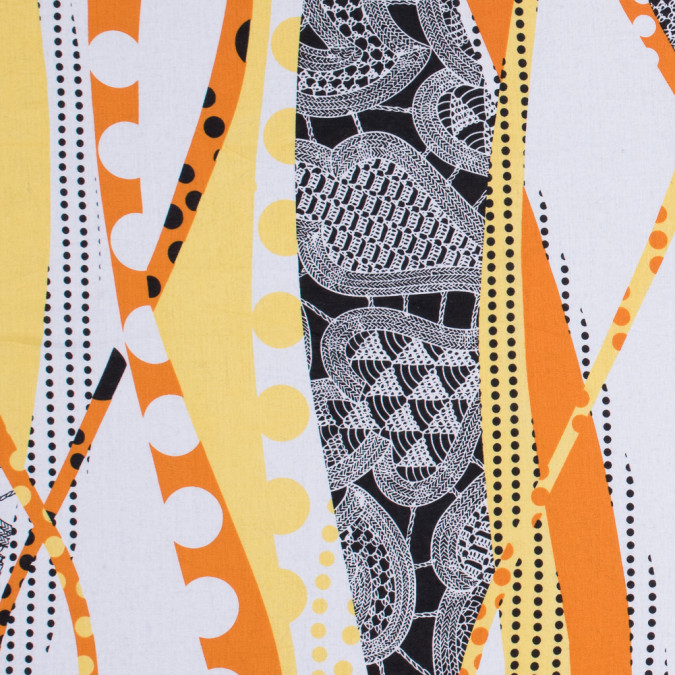orange and yellow largely scaled printed cotton voile 302870 11