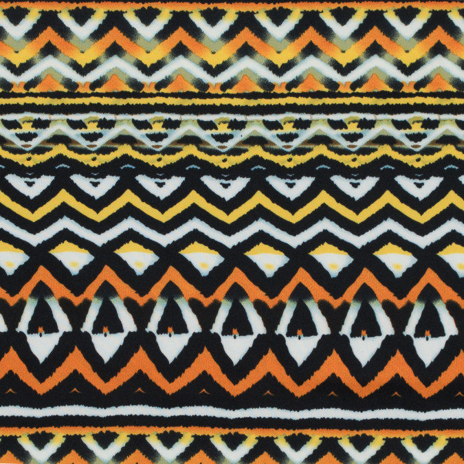 orange peel and freesia yellow geometric printed stretch double knit 314833 11