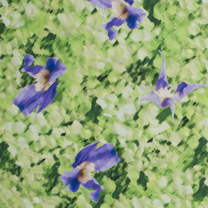 oscar de la renta green and purple abstract floral printed silk mikado 318723 11