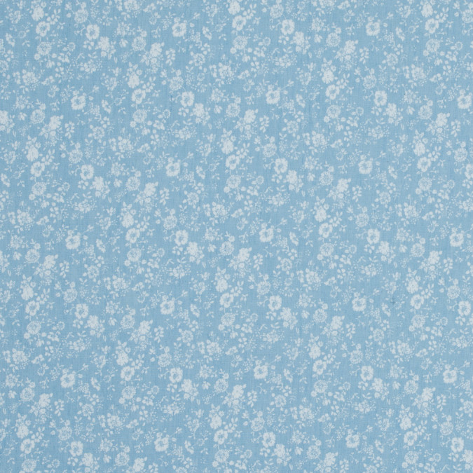 pale blue and white floral printed cotton chambray 318149 11